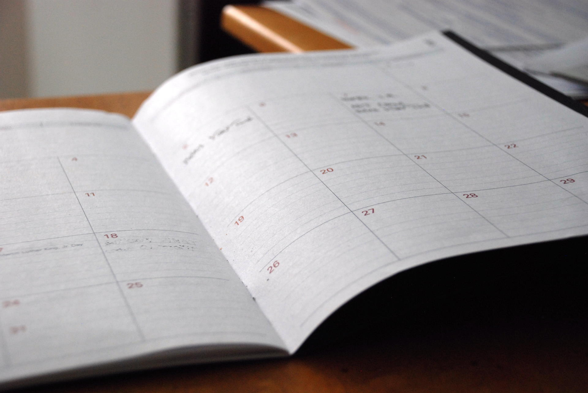 An image of a diary to link to the up coming events page